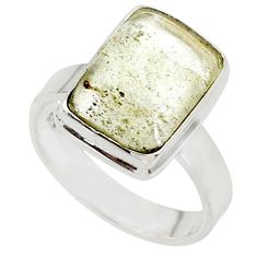 5.10cts natural libyan desert glass 925 silver solitaire ring size 6.5 r64477