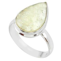 9.16cts natural libyan desert glass 925 silver solitaire ring size 6 r64445