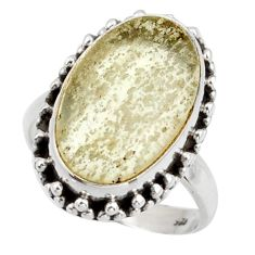11.23cts natural libyan desert glass 925 silver solitaire ring size 7 d47456