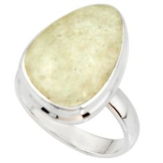 13.15cts natural libyan desert glass 925 silver solitaire ring size 7 r37836