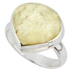 10.73cts natural libyan desert glass 925 silver solitaire ring size 7 r37842