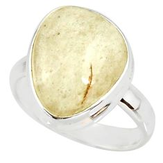 8.75cts natural libyan desert glass 925 silver solitaire ring size 7 r37847