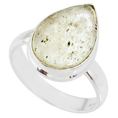 5.63cts natural libyan desert glass 925 silver solitaire ring size 7 r64476