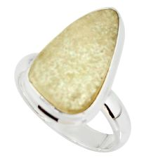 12.06cts natural libyan desert glass 925 silver solitaire ring size 8 r37830