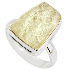 11.46cts natural libyan desert glass 925 silver solitaire ring size 8 r37846