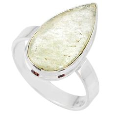 9.16cts natural libyan desert glass 925 silver solitaire ring size 8 r64444