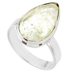 8.69cts natural libyan desert glass 925 silver solitaire ring size 8 r64449