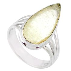 9.96cts natural libyan desert glass 925 silver solitaire ring size 8 r64450