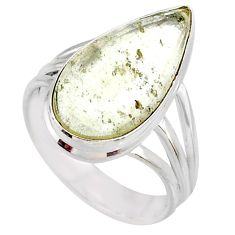 9.90cts natural libyan desert glass 925 silver solitaire ring size 8 r64451
