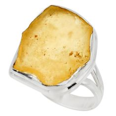 11.23cts natural libyan desert glass 925 silver solitaire ring size 9 d39095