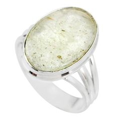 10.02cts natural libyan desert glass 925 silver solitaire ring size 9 r64441