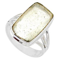 10.31cts natural libyan desert glass 925 silver solitaire ring size 9 r64452