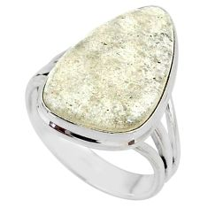 12.52cts natural libyan desert glass 925 silver solitaire ring size 9 r64458