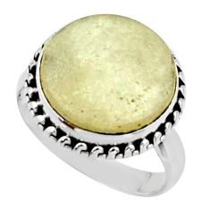 8.65cts natural libyan desert glass gold tektite 925 silver ring size 8.5 r44774