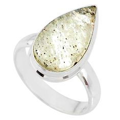5.23cts natural libyan desert glass pear silver solitaire ring size 5.5 r64474