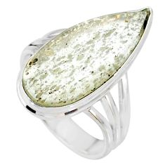 11.23cts natural libyan desert glass pear silver solitaire ring size 8 r64443