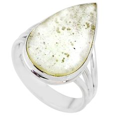 13.09cts natural libyan desert glass pear silver solitaire ring size 9 r64455