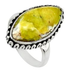 Natural lizardite (meditation stone) 925 silver solitaire ring size 8 r28663