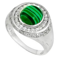 Natural green malachite (pilots stone) 925 silver mens ring size 8 c11373