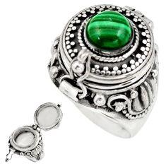 2.57cts natural malachite (pilot's stone) silver poison box ring size 7 r41183