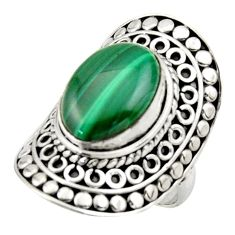 6.31cts natural malachite (pilot's stone) silver solitaire ring size 6.5 d46528