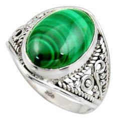 6.03cts natural malachite (pilot's stone) silver solitaire ring size 7.5 r35322