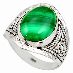 5.63cts natural malachite (pilot's stone) silver solitaire ring size 7.5 r35364