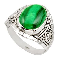 6.72cts natural malachite (pilot's stone) silver solitaire ring size 9.5 r35371