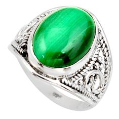 6.03cts natural malachite (pilot's stone) silver solitaire ring size 6.5 r35406