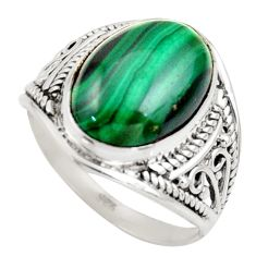 6.72cts natural malachite (pilot's stone) silver solitaire ring size 7.5 r35461