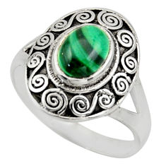 2.11cts natural malachite (pilot's stone) silver solitaire ring size 8.5 r40924