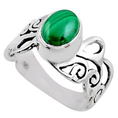 3.46cts natural malachite (pilot's stone) silver solitaire ring size 9.5 r54689