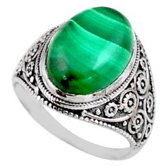 6.31cts natural malachite (pilot's stone) silver solitaire ring size 6 r54628
