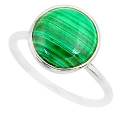 5.08cts natural malachite (pilot's stone) silver solitaire ring size 6 r81664