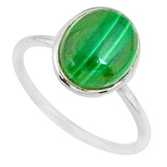 4.22cts natural malachite (pilot's stone) silver solitaire ring size 6 r81675