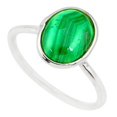 2.68cts natural malachite (pilot's stone) silver solitaire ring size 6 r81680