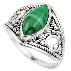 4.77cts natural malachite (pilot's stone) silver solitaire ring size 7 r35311