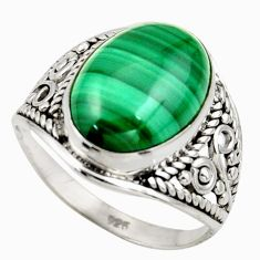6.70cts natural malachite (pilot's stone) silver solitaire ring size 7 r35323