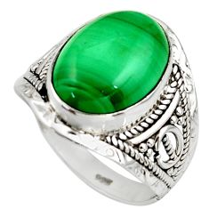 6.04cts natural malachite (pilot's stone) silver solitaire ring size 7 r35372