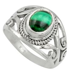 2.20cts natural malachite (pilot's stone) silver solitaire ring size 7 r40908