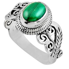 2.01cts natural malachite (pilot's stone) silver solitaire ring size 7 r54475
