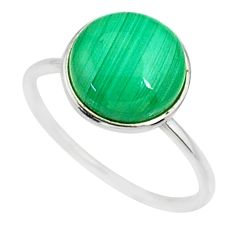 5.11cts natural malachite (pilot's stone) silver solitaire ring size 7 r81666
