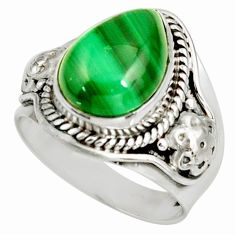 6.92cts natural malachite (pilot's stone) silver solitaire ring size 8 d39112