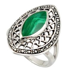 4.92cts natural malachite (pilot's stone) silver solitaire ring size 8 d47507