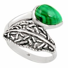 2.44cts natural malachite (pilot's stone) silver solitaire ring size 8 r36905