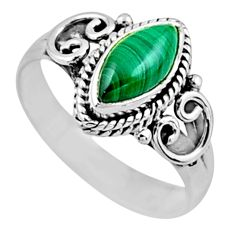 2.41cts natural malachite (pilot's stone) silver solitaire ring size 8 r54451