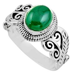 2.12cts natural malachite (pilot's stone) silver solitaire ring size 8 r54508