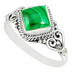 1.21cts natural malachite (pilot's stone) silver solitaire ring size 8 r78822