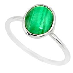 2.64cts natural malachite (pilot's stone) silver solitaire ring size 8 r81662