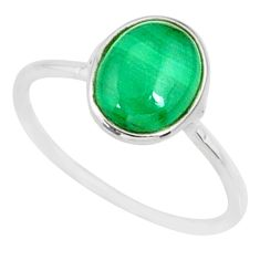 2.94cts natural malachite (pilot's stone) silver solitaire ring size 8 r81663